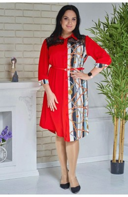Платья Комбинированное платье-рубашка / Комбинированное платье-рубашка